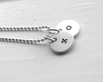 Any Two Initials Necklace, xo Necklace, Hugs Kisses Necklace, Charm Necklace, Sterling Silver Jewelry, Any Two Initials, Two Letter Charms