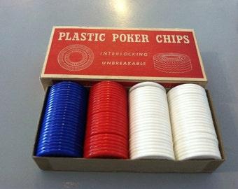 100 Plastic Poker Chips in box