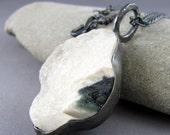 Ocean Jasper Druzy Oxidized Sterling Silver Pendant