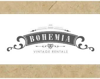 Custom Logo - PreDesigned Logo - PreMade Logo - Vector Logo - OOAK Logo -  BOHEMIA Logo Design - Vintage Logo - Antique Logo