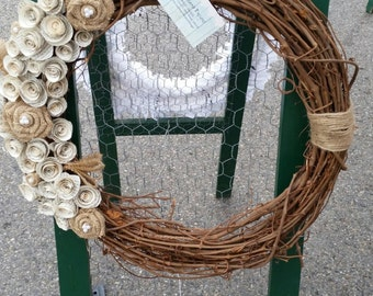 18 inch grapevine wreath with paper and burlap roses