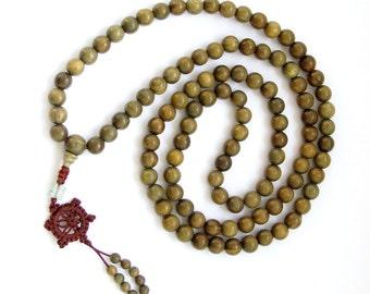 Green Sandalwood 108 Beads Tibetan Buddhist Prayer Stretchy Mala Necklace ZZ002 10mm