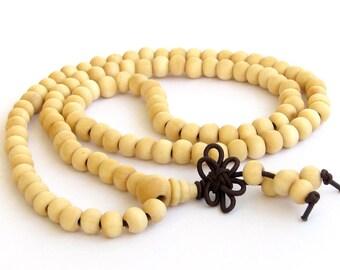 6mm x 5mm White Sandalwood 108 Prayer Beads Mantras Charm Tibet Buddhist Stretchy Mala  ZZ152