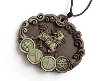 Antique Style Amulet Pendant Kylin Dragon Lucky Word Chu-Ru-Ping-An Safe Coin Two Layer Natural Stone 45mm x 38mm  ZP003