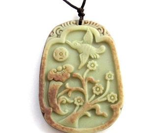 Two Layer Natural Stone Pendant Bird Flower Tree Ru-Yi As One Wish Coin 52mm x 38mm  ZP015