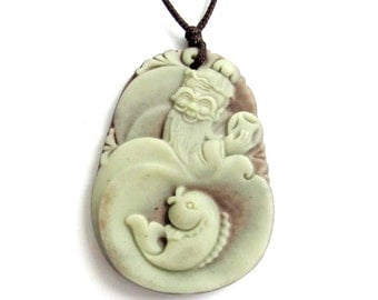 One Bead Happy Lucky Fish Pendant Long Life Longeivty God Pendant Two Layer Natural Stone Pendant 41mm x 30mm  ZP040