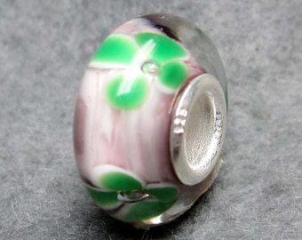 1Pc Murano Glass Flower Bead Finding Fit European Charm Bracelet 14mm x 7mm  jaz475
