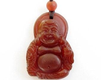 Red Agate Tibet Budddhist Fortune Buddha Charm Amulet Pendant Gemstone Good Luck 33mm x 22mm  T0045