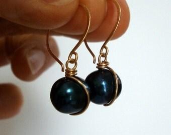 Dark Blue Pearl Drop Earrings Small 14k Gold Fill Dangles Wire Wrapped Pearl Earrings June Birthstone WIre Jewelry Cobalt Jewelry