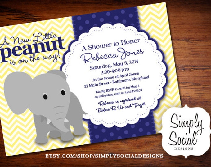 Elephant Baby Shower Invitation Yellow Chevron and Navy Little Peanut Printable