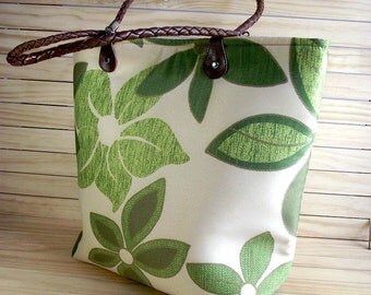 Tote Bag with Leather Handles Diaper Bag  Floral Beach Tote Beach Bag Every day Bag handbags