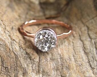 Druzy Ring Tiny Silver Titanium Druzy Quartz Rose Gold Ring Hammered Band