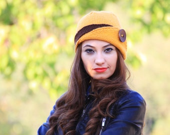 Womens knit hat, Lucy Hat with a button, Mustard beanie with a brown stripe, Winter beanie for women + Christmas Sale