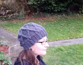 Gray cable knit slouchy beanie, adult size small/medium, vegan