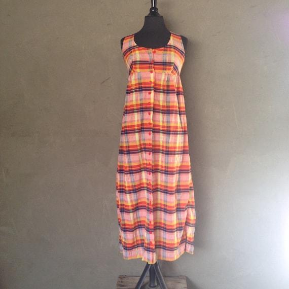 Vintage 1970s Sleeveless Plaid Maxi Shirt Dress XS/S