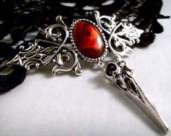 Silver bird skull brooch pin red abalone gothic jewelry