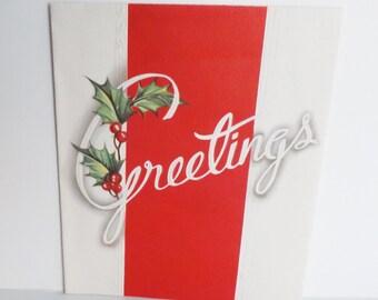 Vintage 1950s 1950's Christmas Greetings card embossed by A-meri-card 1952