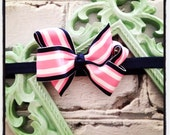 Boutique Baby Girls Navy Elastic Headband with Navy Pink and White Stripe Hair Bow Baby Headband Perfect for Photo Props Birthday