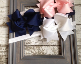 Boutique Baby Girls Set of 3 White Navy Pink Large Hair Bow on Elastic Headband..Perfect for Photo Props holidays birthdays