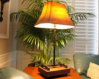 Industrial Table Lamp, Reclaimed Wood, Steampunk Table Lamp, Reclaimed Wood and Pipe Lamp