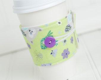 Reusable Fabric Coffee Sleeve, Purple and Green Owl Print for Girls