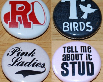 Grease Button Badge Set 25mm / 1 inch Fancy Dress T-Birds Pink Ladies