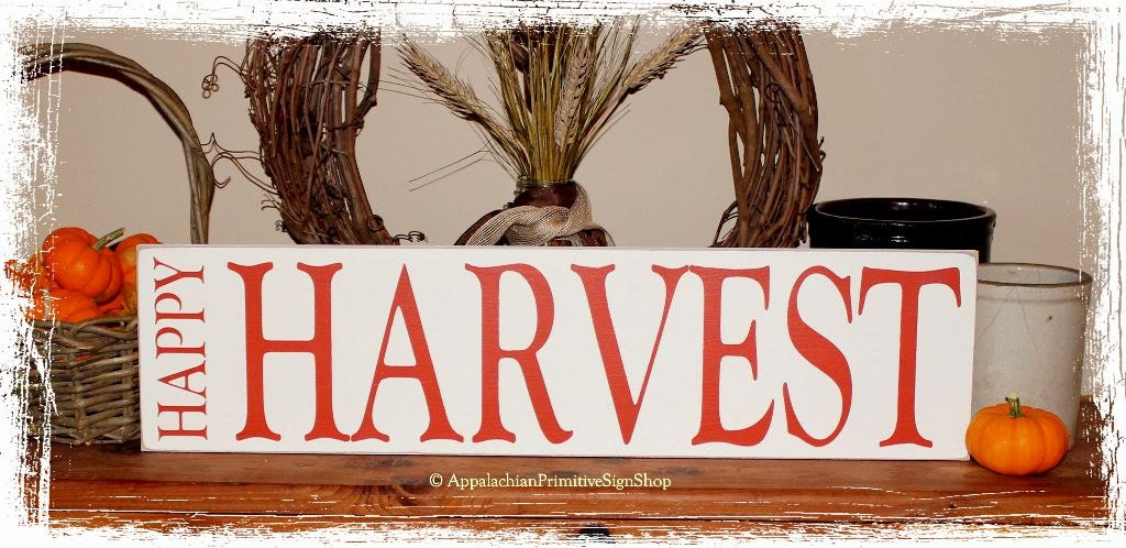 Happy Harvest WOOD SIGN Fall Thanksgiving by AppalachianPrimitive