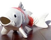 Large Ceramic Koi Fish Decorative Figure Home Decor , Orange and White