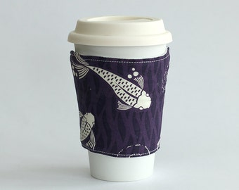Insulated Coffee Cozy - Purple Koi abstract - Ready to Ship