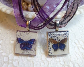 VIntage Butterfly Scrabble Tile Necklace Pendant
