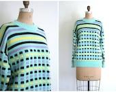 SALE || vintage 1980s pastel Esprit sweater / Mint Green - stripes & square dots / Kawaii - 80s