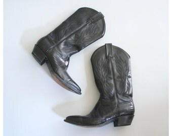 ladies black lizard cowboy boots - cowgirl boots / Tony Lama - country western boots  / vintage 80s . 90s - marked 6M