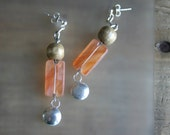 Peach earrings Silver ear...