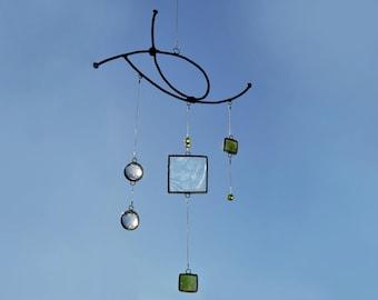 Mobile,Green mobile,Glass mobile,Beach home decor,Glass suncatcher,Stained glass suncatcher,Children mobile,Baby mobile,En Bleu et Verre