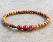 grounding, first chakra, sandalwood and genuine red jasper gemstone mala bracelet