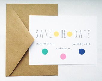 Wedding Save the Date in White/Recycled Kraft -- The Polka -- Customizable Set -- CHOOSE YOUR QUANTITY