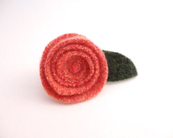 Rose Pin Felted Wool Brooch SOFT ORANGE Upcycled Ecofriendly Romantic Rose Brooch, Lapel Pin, Boutonniere by WormeWoole