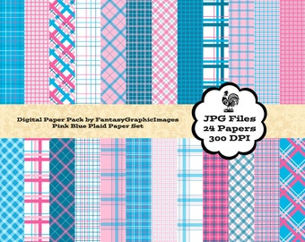 Plaid Digital Paper Tartan Check Pink Turquoise Blue The Plaid Series 24 Papers Photography Background Printable Scrapbook Instant Download