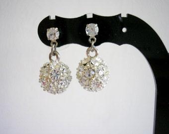 Silver tone metal rhinestones ball studs earrings