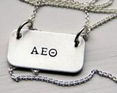 Sorority Gifts Necklace, Sterling Sorority Necklace, Greek Sorority Necklace, Greek Life, Silver Necklace