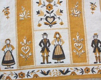 Paired up. Vtg linen kitchen towel / Scandinavian motifs / husband wife couple / brown yellow / man woman / very good condition