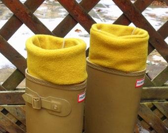 Fleece Rain Boot LINER, GOLDEN YELLOW,  Wellie warmer, Outdoors, Rustic, Gift Under 25. All Weather, Size Med/Lrg 9-11 Boot