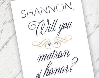 Blush & Navy Vintage - Will You Be My Matron of Honor Wedding Card - Qty. 1