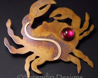 Mixed Metal Crab Brooch with Ruby Patina Sterling Silver and 14karat Goldfill, July Birthstone Crab Pin