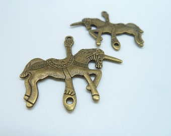 6pcs 42x42mm Antique Bronze Lovely Huge Unicorn Trojan Horse Connector Link Charm Pendant  c3054