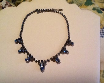 Aquamarine Silver Necklace Marquis & Teardrop Stones Gorgeous Art Deco Jewelry