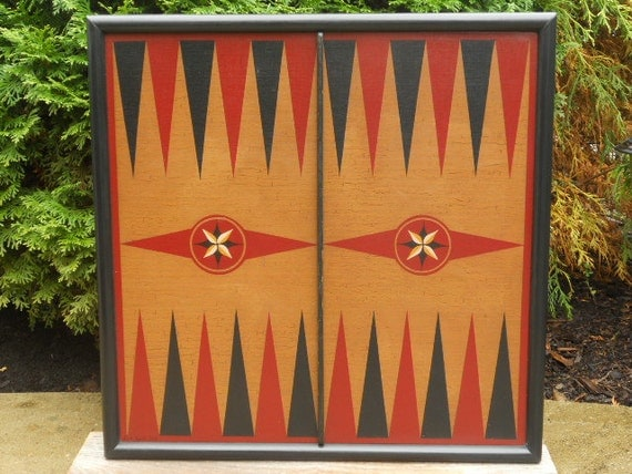"""19"""", Backgammon, Wood, Game Board, Wooden, Game Boards, Primitive, Folk Art, Board Game, Hand Painted"""