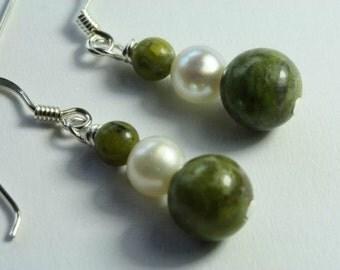 Connemara Marble & Freshwater Pearl Earrings