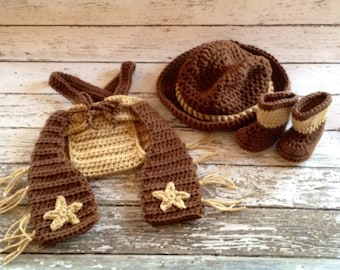 Little Mr Cowboy Hat, Chaps, Boots and Diaper Cover Available in Newborn to 6 Month Size- MADE TO ORDER