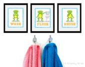 Kids Bathroom Art - Frog Theme Bathroom Prints - Set of Three - Kids Bathroom Prints - Frog Theme Bathroom